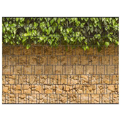 PerfectHD Zaunsichtschutz - Efeu Zaun - Motiv Efeu und Mauer - Sichtschutz für den Garten - 2,50 x 1,80 x 0,19 m - 9 Streifen - 30 Varianten