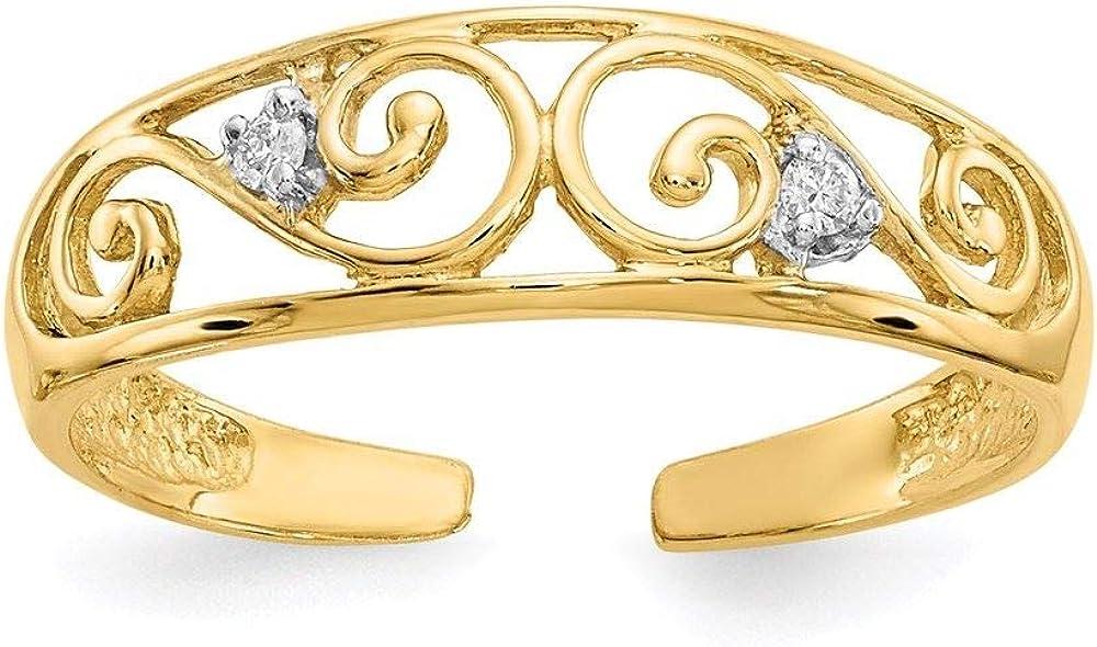 14K Yellow Gold Diamond Scroll Toe Ring (0.01CTW)