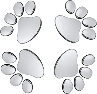 Oun Nana 3D Chrome Dog Paw Footprint Sticker Decal Auto Car Emblem Decal Decoration (4pcs)