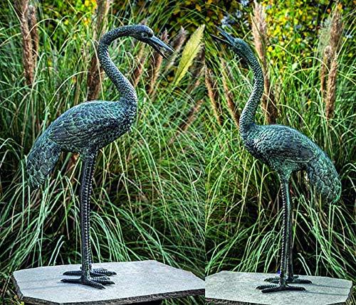 IDYL Escultura de bronce de dos grúas   98 x 24 x 53 cm   2 figuras de bronce Kranich hechas a mano   Escultura de jardín o estanque   Artesanía de alta calidad   Resistente a la intemperie