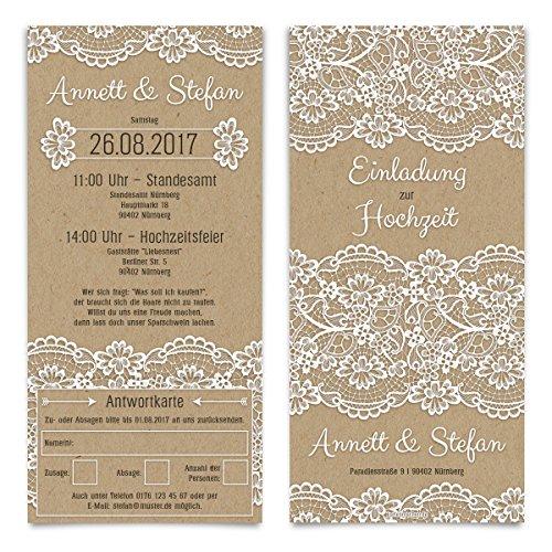 Hochzeitseinladungen Antwortkarte (20 Stück) - Kraftpapier Spitze - Hochzeitskarten Tickets