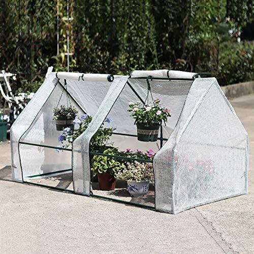 Portable Mini Flower House Greenhouse Waterproof PE Cover Zipper Doors Outdoor Green Plant House Garden Patio Backyard Flower Shed,B