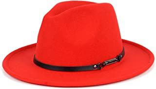 Men & Women Classic Wide Brim Fedora Hat with Belt Buckle Wool Felt Panama Fedora M/L