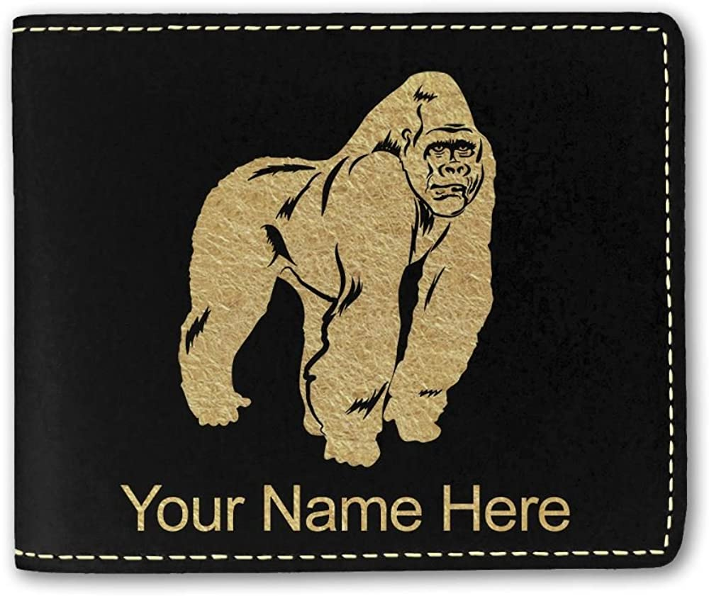 Faux Leather Wallet, Gorilla, Personalized Engraving Included