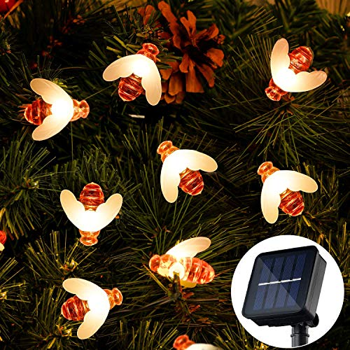 Solar Garden Lights, OxyLED 36Ft 60 LED Honeybee Fairy String Lights 8 Modes Waterproof Solar/USB Plug-in Powered Decorative Lights for Home,Patio,Party,Christmas,Decoration(Warm White)