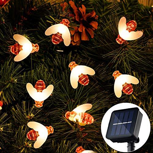 Cadena de Luces, OxyLED 36Ft 60 LED Hada Luces Solares Exteriores Impermeables en forma de Abeja para Jardín, valla de flores, Patio, Césped, árboles, Fiesta, Hogar, Navidad (Blanco Cálido)