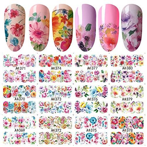 12 Designs Blume Wasser Aufkleber Für Nägel Full Cover Wraps Nägel Aufkleber Kunst Rose DIY Gemischte Tipps Maniküre SAA1369-1380