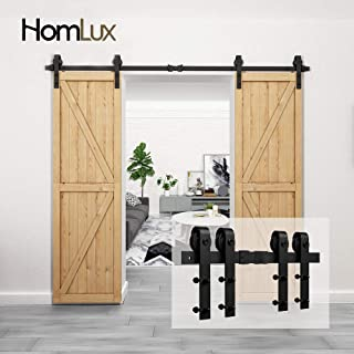 Homlux 8ft Heavy Duty Sturdy Sliding Barn Door Hardware Kit Double Door - Smoothly and Quietly - Simple and Easy to Install - Fit 1 3/8-1 3/4