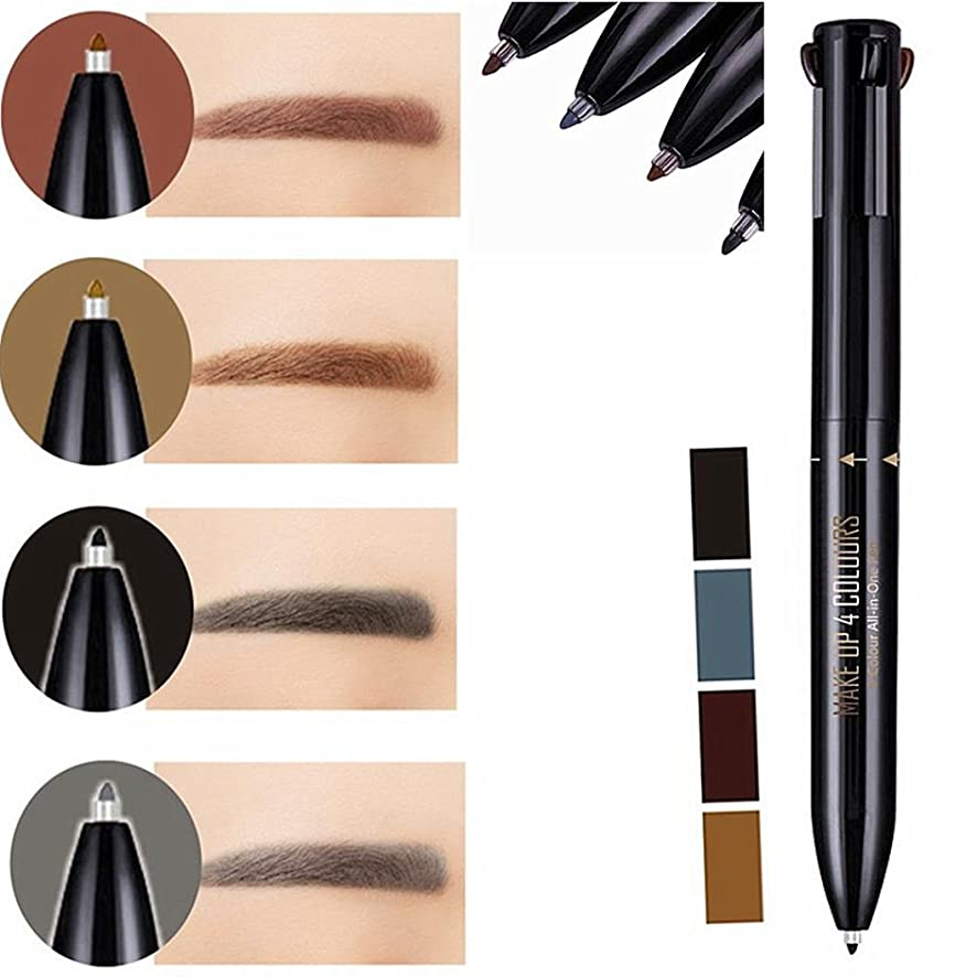 Hunputa Eye Brow pencil, 4 In 1 Waterproof Eye Brow Eyeliner Eyebrow Pen Pencil With Brush Makeup Cosmeti