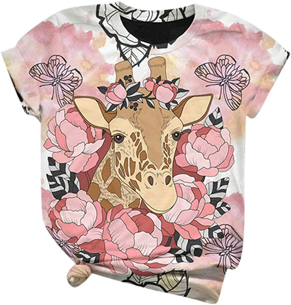 YUehswet Tees for Women 3D Animals Printed Short Sleeve T-Shirt Casual Plus Size O Neck Tops Blouses Pink