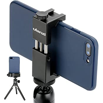 Ulanzi ST-02S Aluminum Phone Tripod Mount w Cold Shoe Mount, Support Vertical and Horizontal, Universal Metal Adjustable Clamp for iPhone 10 Pro Max XS Xs Max X 8 7 Plus Samsung Android Smartphones