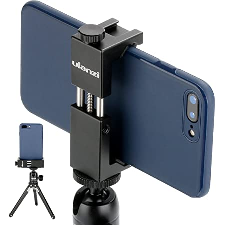 Ulanzi ST-02S Aluminum Phone Tripod Mount w Cold Shoe Mount, Support Vertical and Horizontal, Universal Metal Adjustable Clamp for iPhone 12 11 Pro Xs X Max 8 7 Plus Samsung Android Smartphones