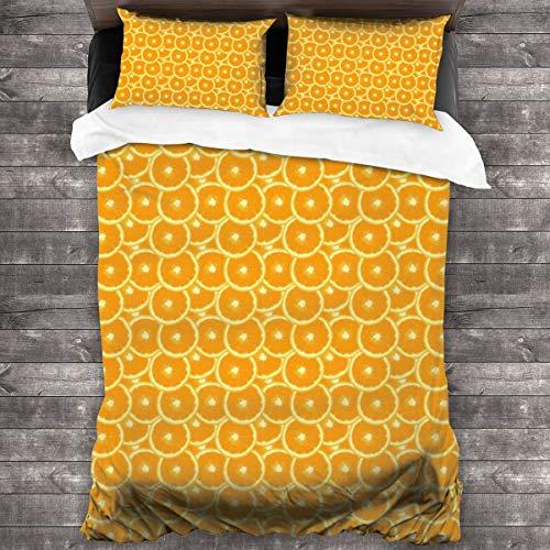 Qing_II Juego de ropa de cama de 3 piezas, diseño de rodajas de naranja, fondo de papel pintado, juego de funda de edredón de microfibra suave, 1 funda de edredón (86 x 70 pulgadas) y 2 fundas de almohada (20 x 30 pulgadas)