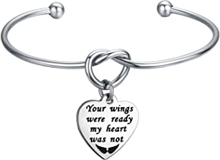WUSUANED Memorial Jewelry Your Wings were Ready My Heart was Not Bracelet Necklace Loss of Loved One Gift