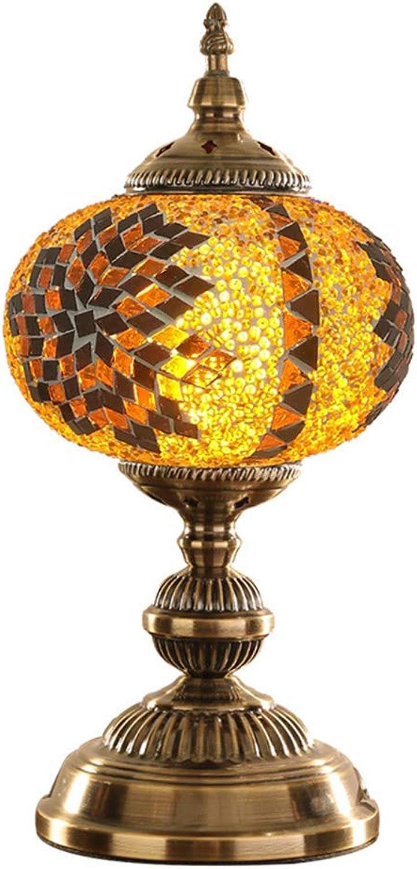 MTTK Mosaik-Lampe Kreativer handgemachter Turm-Schatten Licht kugelfrmiges Glas Nachtsichtatmosphre Nachtlampe Lixture 18  37CM,C