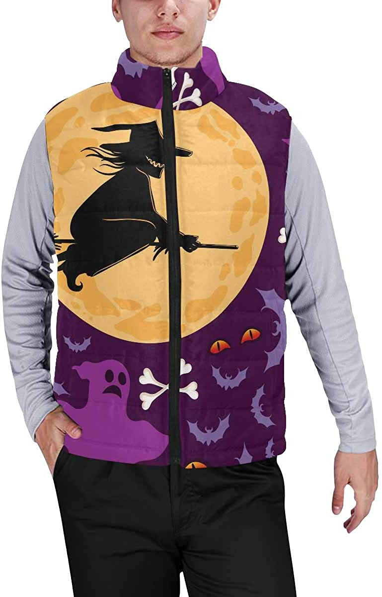 InterestPrint Men's Full-Zip Soft Warm Winter Outwear Vest Halloween with Pumpkins, Witch XXL