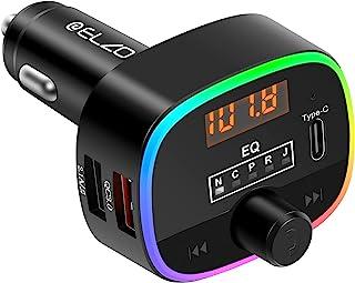 ELZO Bluetooth FM-zender voor auto, 5.0 Bluetooth-autoadapter met 10 kleuren LED-achtergrondverlichting en QC3.0 snellade...