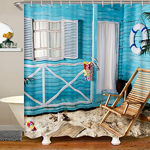 Cortinas de baño impermeables para la playa, para decoración de sillas de madera, para niños, adolescentes, con 12 ganchos para bañera, 183 cm de ancho x 183 cm de largo