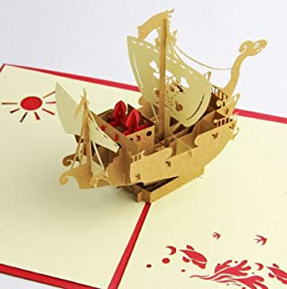 BC Worldwide Ltd Tarjeta pop-up 3D hecha a mano, barco pirata, tarjeta de cumpleaños, aniversario de bodas, San Valentín, ...