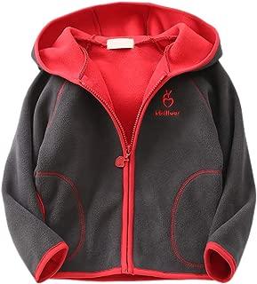 Feidoog Kids Polar Fleece Jacket Hooded Long Sleeve Coat Zip up Outerwear