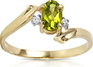 0.46 Carat 14k Solid Gold Ring with Natural Diamonds and Oval-shaped Peridot