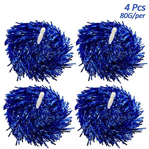 Creatiees 4 Stücke Cheerleading Pom Pom mit Baton Griff, Cheerleading Pompons Cheerleader Puschel Tanzpuschel für Ball Tanzen Schick Kleid Nacht Party Sports(Blau, 80g)