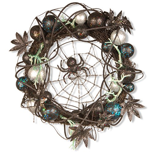 Halloween Black Spider with Ornaments Wreath