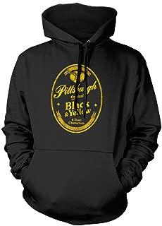 FreshRags Black and Yellow Beer Label Pittsburgh Fan Parody Hoodie
