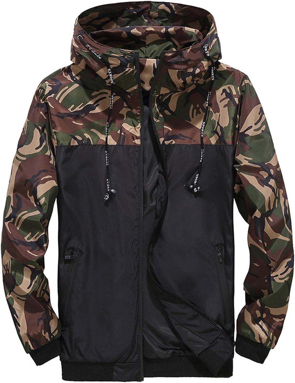 SUIQU Men's Camouflage Colorblock Hooded Jacket Lightweight Casual Drawstring Zip Pullover Windbreaker Coat