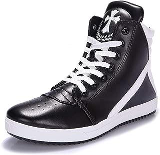 [Rayiisuy] メンズ 7cm身長アップ 背が高くなるシークレット シークレットブーツ 厚底 スニーカー ハイカット メンズ ダンス ステルスシークレット 通気性 歩く靴 アンチスリップ ユニセックス (24.5cm, ブラック)