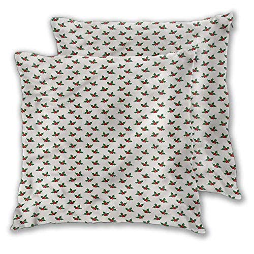 Xlcsomf Christmas Soft decorative pillowcase, 22 x 22 Inch Holly Berries For bedroom Christmas decoration Set of 2