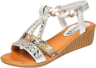 Chaussure Ouverte Femme Sandale Petit Talon Confortables Ete Sandale Tendance Ouverte Nu Pied avec Strass Bohême Chaussure...