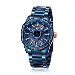 T5 H3616G-C Round Stainless Steel Analog Watch for Men -Navy