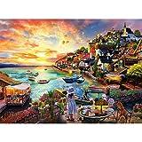 Sinoeem Puzzle 1000 Piezas, Puzzles para Adultos, Obra de Arte de Juego de Adulto Rompecabezas para Navidad, Rompecabezas de Piso Juego de Rompecabezas y Juego Familiar(Paisaje costero)