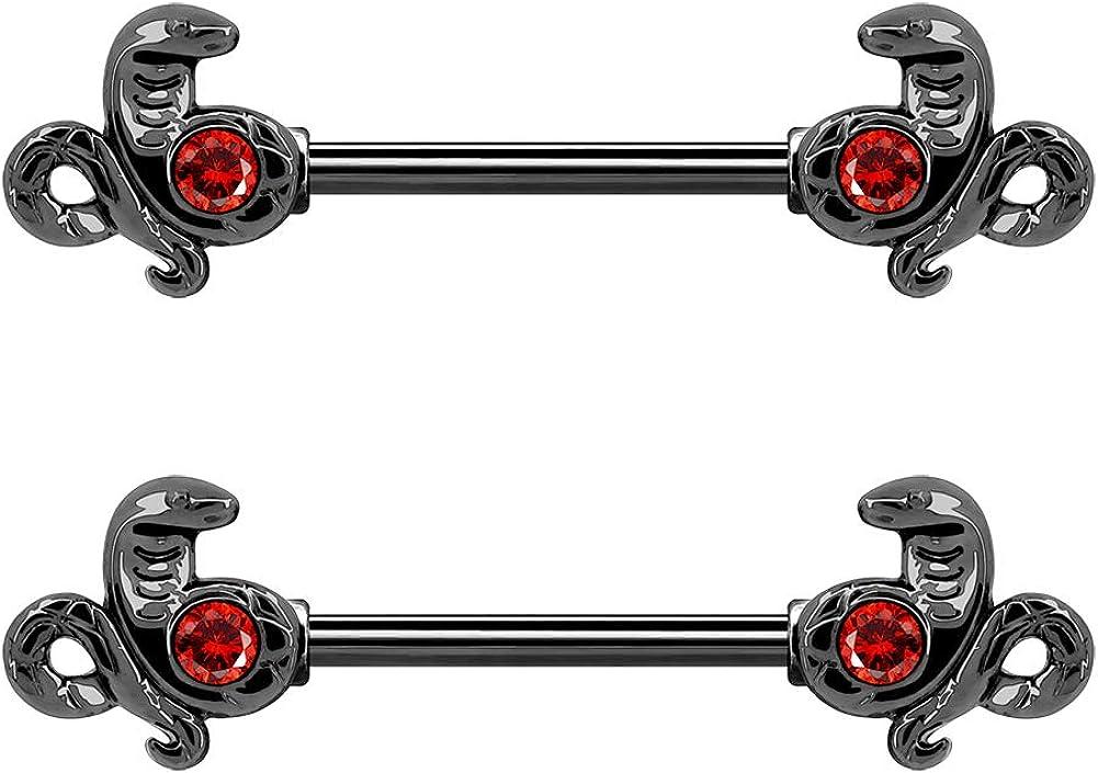 OUFER Cobra Nipple Rings for Women Men 14G Stainless Steel Nipplerings Barbells Piercing Jewelry Body Piercing Jewelry