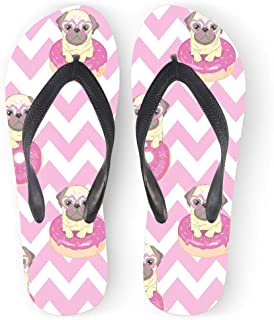 Pug Dog Chevron Flip Flops for Women Pink Fashion Casual Summer Beach Shower Slippers Sandals
