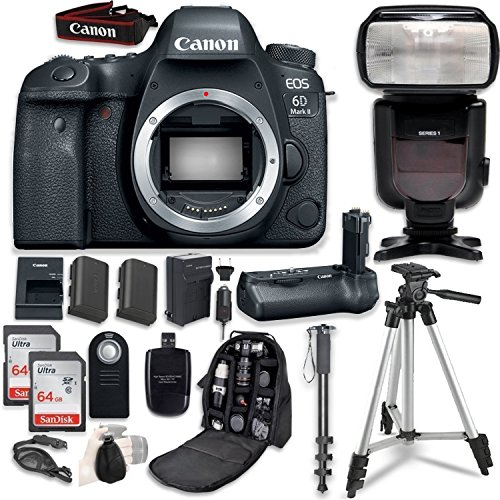 Canon EOS 6D Mark II DSLR Body - with Canon BG-E21 Battery Grip + Professional Accessory Bundle (14 Items)