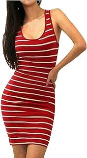 11d699a661d Vovotrade Sexy Women Striped Bandage Bodycon Sleeveless Evening Party Short  Casual Mini Dress