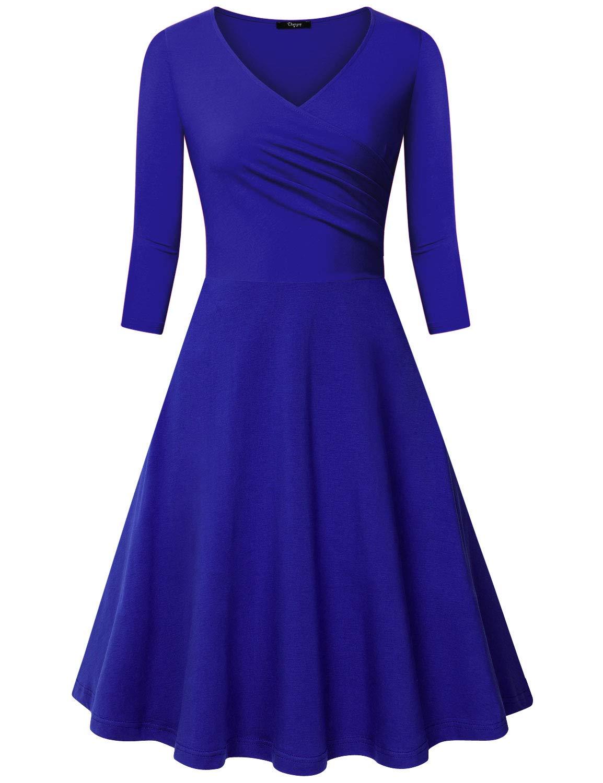 Available at Amazon: Ckuvysq Women's Cross V Neck Dresses 3/4 Sleeve Flared A Line Dress