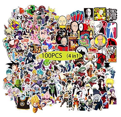 Kilmila Anime Stickers [100pcs], Random Anime Vinyl Sticker Cartoon Stickers for Laptop Water Bottle Bike Car Motorcycle Bumper Graffiti, Cool Animals Monsters Decals, Best Gift for Kids Children