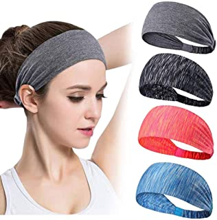Headbands for Women Sweatband Moisture Wicking For Yoga Running Sports Biking Workout Elastic Headwraps Head Wrap Hair Band