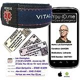 cancro emergenza medica ID braccialetto identità che contatti allarme via SMS * in emerge...