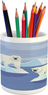 Ambesonne Polar Bear Pencil Pen Holder, Arctic Circle Animals Floating on ICY Rocks Eco Habitat Zoo Nordic Pole Pattern, Printed Ceramic Pencil Pen Holder for Desk Office Accessory, Multicolor