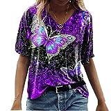 Nueva Camiseta De Manga Corta con Estampado De Mariposas De Primavera Y Verano para Mujer