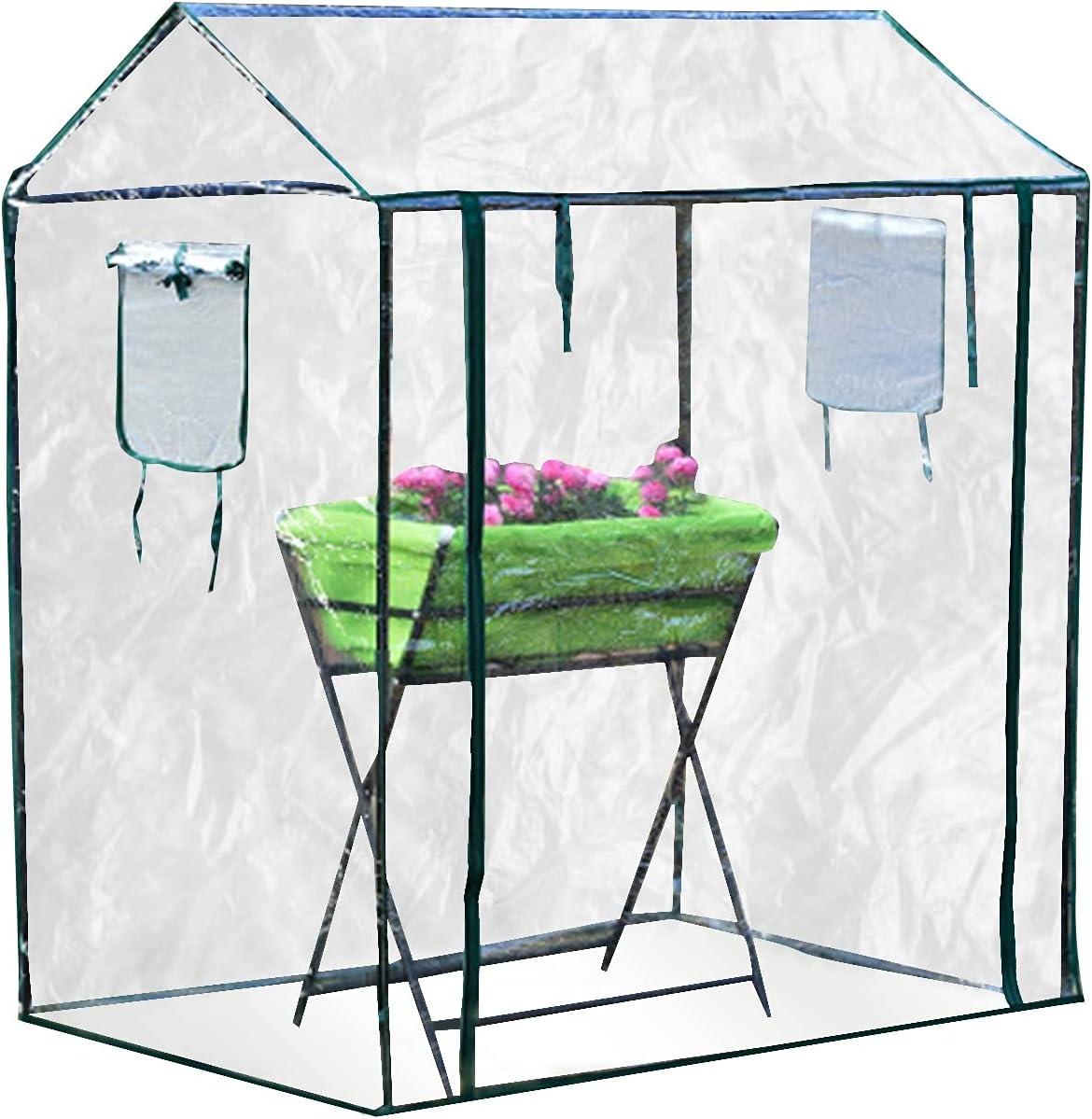 PPLAS Mini casa de Flores de jardín de Invernadero con estantes Funda Impermeable Cierre de cobertizo (Color : A)