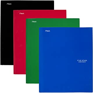 Five Star 2 Pocket Folders with Prong Fasteners, Folders with Pockets, Black, Red, Blue, Green, 4 Pack (38105)