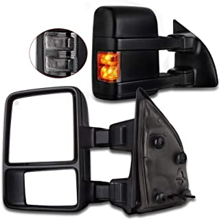 Towing Tow Mirrors Manual Smoke Signal Dual Glass for 03-07 Ford F250 F350 F450 F550 Super Duty Left&right Passenger&driver Side View Mirror Pair Set Telescoping Folding Black Textured