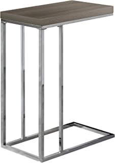 Monarch Specialties 3253, Chrome Accent Metal Base C-Table, Dark Taupe