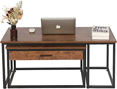 Nesting Coffee Table Set of 2 for Living Room, Sofa Side Rectangular Stacking Table with Large Capacity Sliding Rails Drawer,