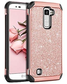 LG K10 Case LG Premier LTE L62VL L61AL Case BENTOBEN Sparkly Hybrid Hard Cover Laminated with Luxury Shiny Synthetic Leather Shockproof Protective Case for LG K10 MS428 K428SG Case Rose Gold+Black